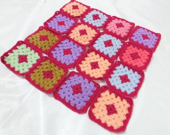16 Handmade Crocheted Granny Square Appliques , Each Square Has 5 Rows , Crochet Applique Embellishment