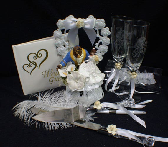 Disney Beauty And The Beast Wedding Cake Topper Lot Glasses