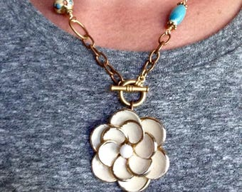"Toggle Front Necklace; Vintage Earring; Beaded Necklace; Assemblage Jewelry; Upcycled Jewelry; ""Floral Your Own Good"""