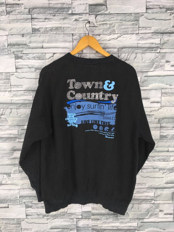 TOWN AND COUNTRY Vintage 90's Jumper Men Large Surf Design Hawaii Streetwear Surfing Hawaiian Zipper Sweater Sportwear Black Hoodie Size L 4LPw7TdZ5k