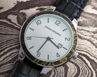 Mokume Watch, Polished Metal Watch With Alligator Grain Leather Strap, Mokume Gane Jewelry, Johan Eduard Watches