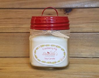 Soy Candle - Cranberry Fig - Mason Jar Candle, Christmas Candle, 8 oz Candle, Fall Candle, Autumn Candle, Jar Candle, Red Candle