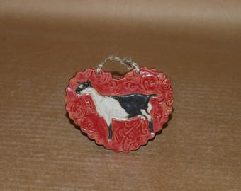 Handmade Stoneware Ornament ~ Alpine doe in Red