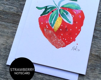 Strawberry Notecard Set of 3 or 6