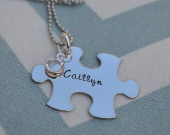 Hand Stamped Personalized Autism Awareness Necklace with Birthstone