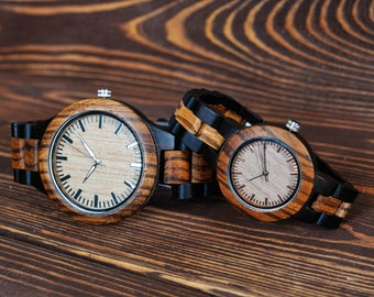 Couples Watches Romantic Couples Gift Set Women/Men Wooden Watches Personalized Watches for couple Engraved Watches Gifts for Couple