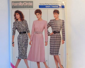 Vintage Butterick Fast & Easy Women's Dress Sewing Pattern 5756 Misses Size 6-8-10, Misses' Pullover Dress 1987 Family Circle Collection