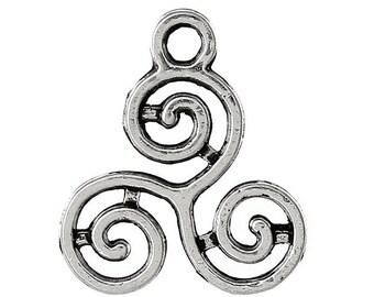 50 charms antique silver Celtic triskel