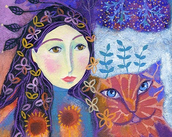 Peachy, original mixed media painting on box canvas, 6 x 6ins. wall art, folk art, girl and cat