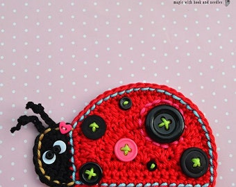 Crochet ladybug applique - pattern, DIY