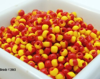 Red and Yellow Harlequin Czech Glass Beads 25g size 6/0 4mm