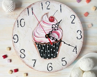 Sweet Cake Wall Clock, Modern wall clock with numbers, White wall clock, wood clock, pink home decor, for Office.
