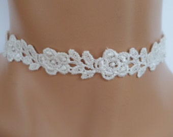 cream lace choker, guipure lace, lace necklace