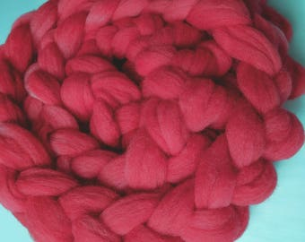 """Spinning Fiber Babydoll Southdown Wool / Alpaca for Spinning & Needle Felting 4 Oz Combed Top Pink Fiber """" Pink Ultra  """""""
