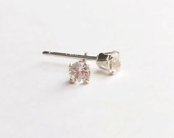 Tiny 3mm White Topaz Sterling Silver Claw Stud Earrings