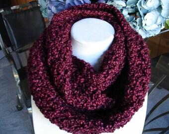 Burgundy Cowl Scarf, Infinity Scarf, Crocheted Scarf, Winter Scarf