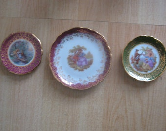 3 Small Limoges Porcelain Plates