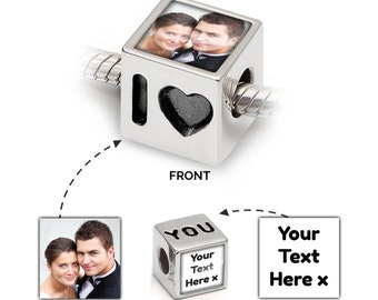 Personalised Charm UK | Photo Bead in 925 Silver | I Love You Message | Pandora Bracelet Compatible - Gift Jewellery Valentines