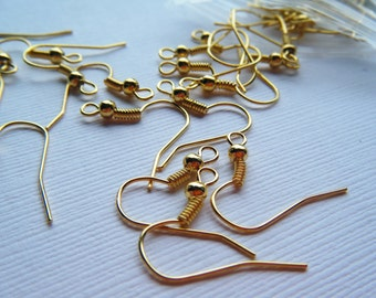 50 French Ear Wires - Gold Tone
