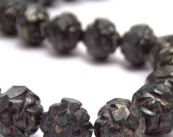 Jet Bronze Picasso Czech Glass Bead 7x8mm Rosebud : 12 Black Rosebud Flower Beads