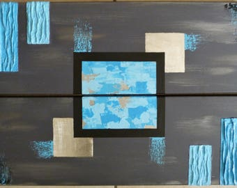 Land of ice, grey/blue/silver acrylic diptych painting