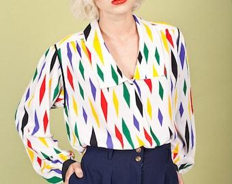 80s Geometric Print Colorful Top Vintage White Secretary Blouse