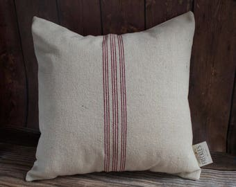 Red Stripe Grain Sack Pillow COVER ONLY. Farmhouse Pillow. Farmhouse Decor. Cream Linen with Red Stripes. 9 Red Stripe. Cottage Decor.