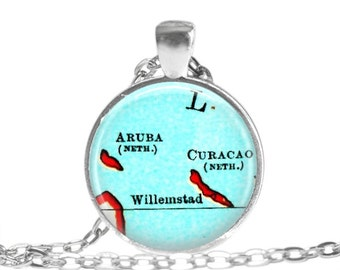 Aruba, Curacao necklace pendant charm, Caribbean map jewelry, Aruba pendant 2 of 2, custom aruba map necklace, mom gift, A157