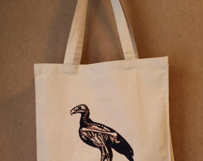 Embroidered Dodo Bird Skeleton Vintage Graphic Reusable Canvas Tote Bag