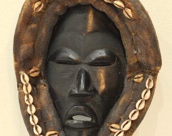 African Mask Dan Tribe  African Liberia Handmade Burnished Wood Cowrie Shells Spiritual Mask