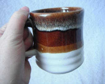 Vintage Pottery Coffee Mug Brown Cup White