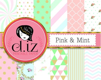 Mint and pink digital paper, pink mint backgrounds, pink and green digital paper 12 scrapbook papers