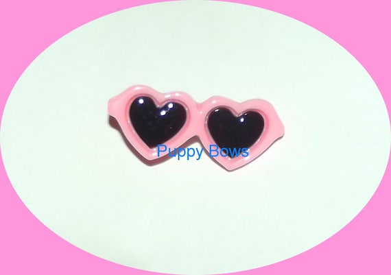 Puppy Bows ~ Dog bow sunglasses HEARTS PINK pet hair barrette clip ~USA seller