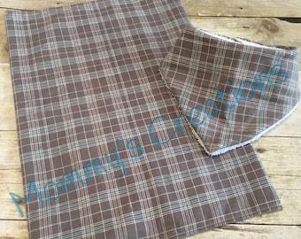 Handmade Bandana Bib 6-12M and Burp Cloth Flannel with Terry Cloth--Gray/Grey Plaid