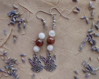 Gemstone Angel Jewelry - Garnet and Moonstone Earrings