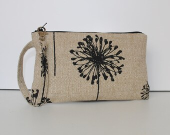 Square Wristlet  Zipper Pouch - Dandelion Black Denton
