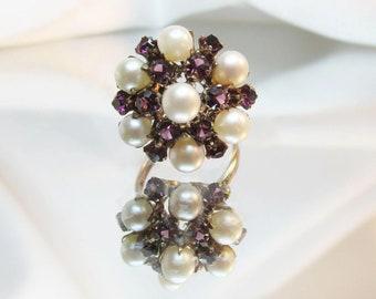 Antique Pearl Amethyst 9K Princess Ring