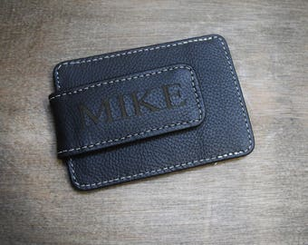 Personalized Leather Money Clip, Personalized Money Clip, black money clip, groomsmen gifts, leather wallet, personalized gift for him,