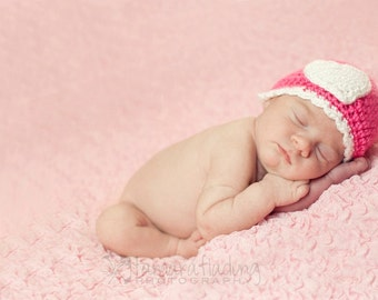 Crochet Baby Girl Heart Beanie -Newborn to Adult - Watermelon and White - MADE TO ORDER