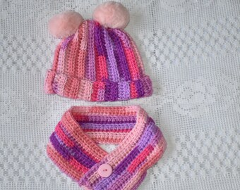 Toddler double pompom hat and cowl set