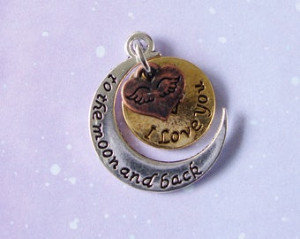 Charm Love You To The Moon And Back, Love Charm, Round 25mm 2 pieces, I Love You Charm
