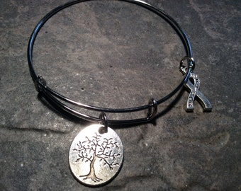 Cancer Survivor bracelet with reversible Tree of Life/Life is a Gift and Survivor charms adjustable bangle bracelet Survivor  ribbon charm