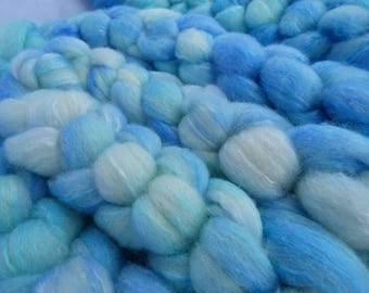 Sky Blue Devon Bluefaced Leicester and Mulberry Silk Blend - Hand Dyed Wool Roving (Top) - 100g