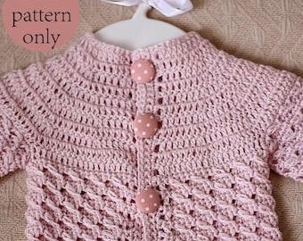 Crochet PATTERN - Polka Dot Baby Cardigan