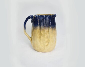 "Flow Blue 'Corn in Husk"" Pitcher"