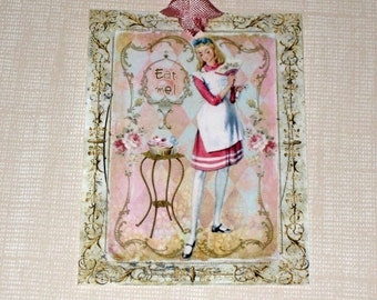 Alice in Wonderland Gift Tag ECS ATC Vintage