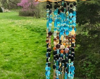 Mountain Skies Glass and Crystal Wind Chime Handmade One of a Kind Housewarming Birthday Indoors Outdoors Garden Art