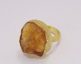 18k Gold Vermeil Ring - Raw Citrine Ring - November Birthstone Ring - Natural Stone Ring - Designer Ring - Statement Ring - Christmas Ring