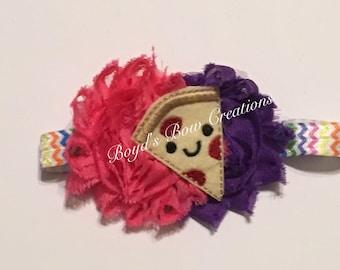 I heart pizza felt shabby adjustable elastic headband