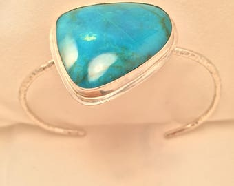 Turquoise and sterling silver bracelet, hammered silver cuff bracelet
